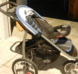 blue and black prop stroller
