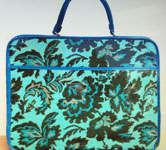 Blue hand bag with flower pattern