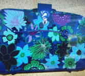 Blue Leather handbag with flower designs